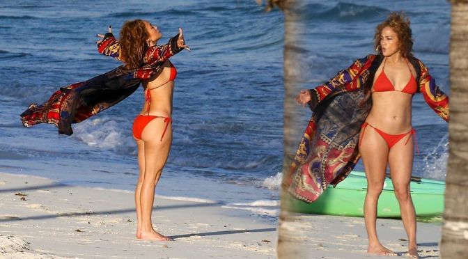 Jennifer Lopez – Big Ass in Small Red Bikini at the Beach in Turk and Caicos