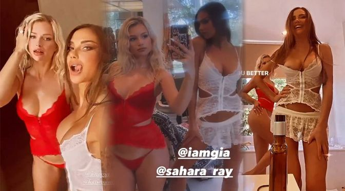 Lottie Moss & Sahara Ray – Sexy Bodies and Nip Slip in a Racy Lingerie Video