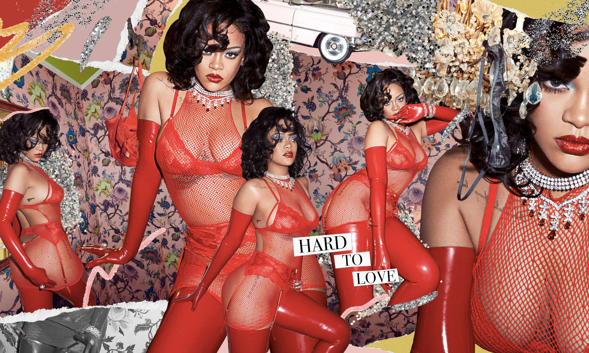 Rihanna See Through Red Lingerie