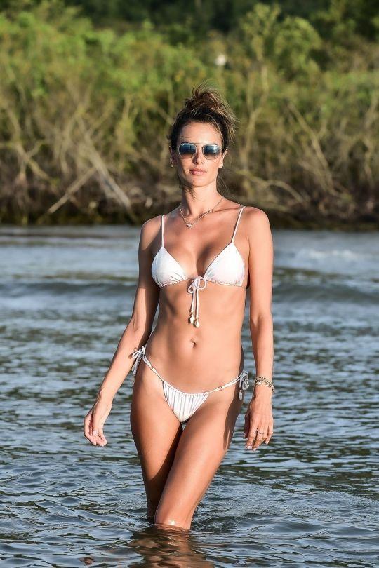 Alessandra Ambrosio Tiny White Bikini