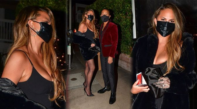 Chrissy Teigen Sexy Cleavage And Legs
