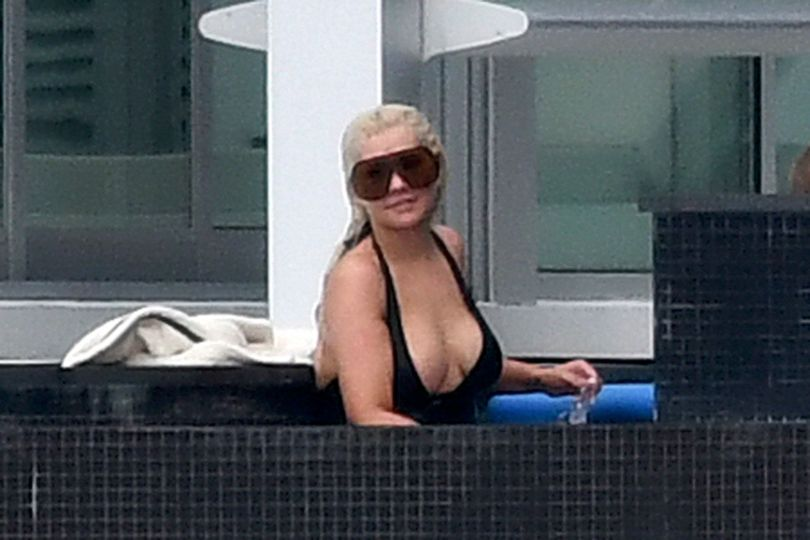 Christina Aguilera Boobs In Swimsuit