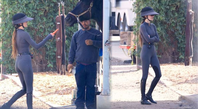 Kendall Jenner – Sexy Ass in a Tight jumpsuit in Malibu