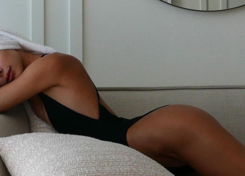 Kimberley Garner In Black Swimsuit
