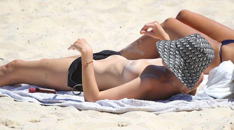 Montana Cox Topless Boobs On Beach
