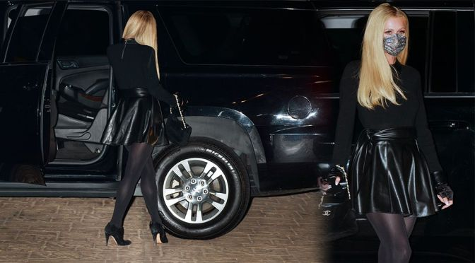 Paris Hilton – Sexy in Black Mini Skirt and Stockings Ou in Malibu