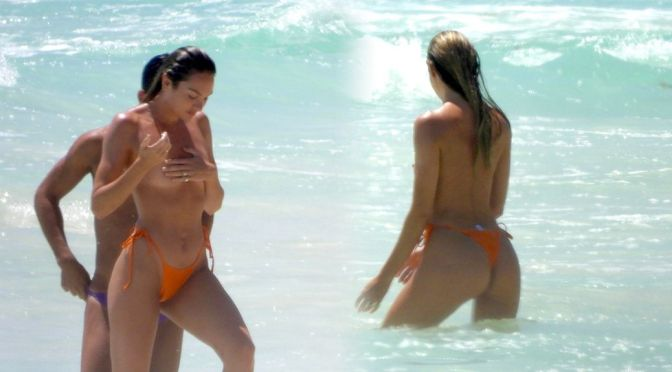 Candice Swanepoel – Perfect Topless Body on the Beach in Tulum
