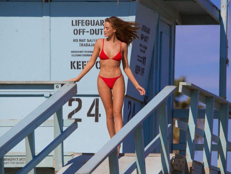 Haley Kalil Sexy Red Bikini