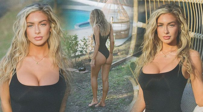 Hannah Palmer – Stunning Body in a Sexy Black Swimsuit