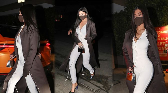 Kylie Jenner – Sexy Body in Tight White Pants at Giorgio Baldi in Santa Monica