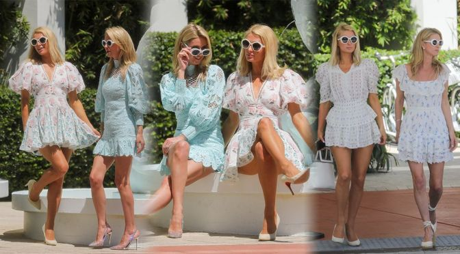 Paris & Nicky Hilton -Sexy Legs in a Beautiful Short Dresses at the W Hotel in Miami