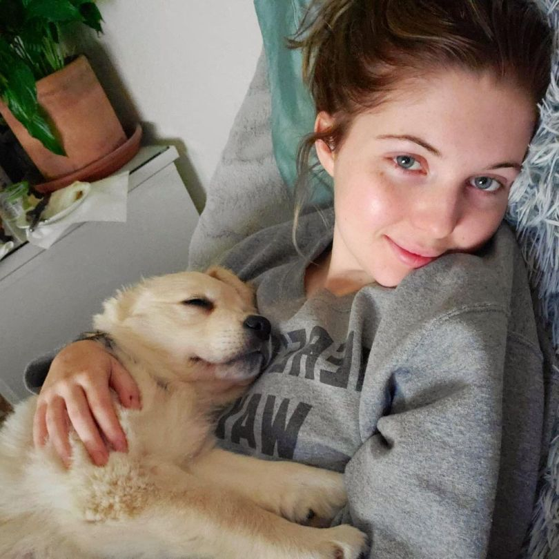Sammi Hanratty Beautiful Wiht Puppy
