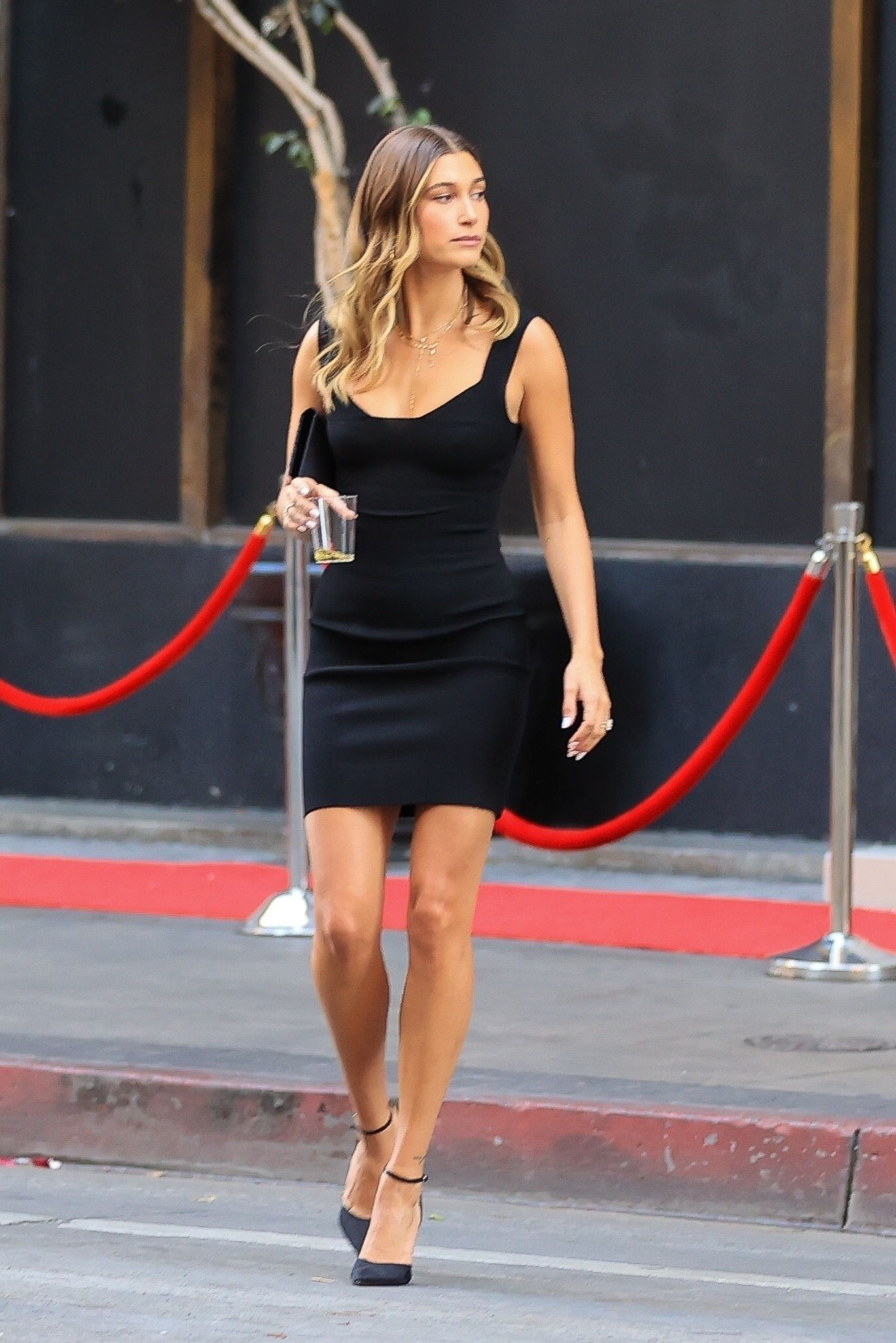 Hailey Bieber Sexy Black Dress