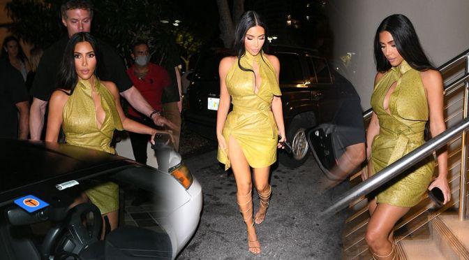 Kim Kardashian – Sexy Boobs and Legs Out in Miami Beach