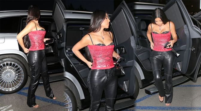 Kim Kardashian – Beautiful Boobs in a Red Corset Out in Brentwood
