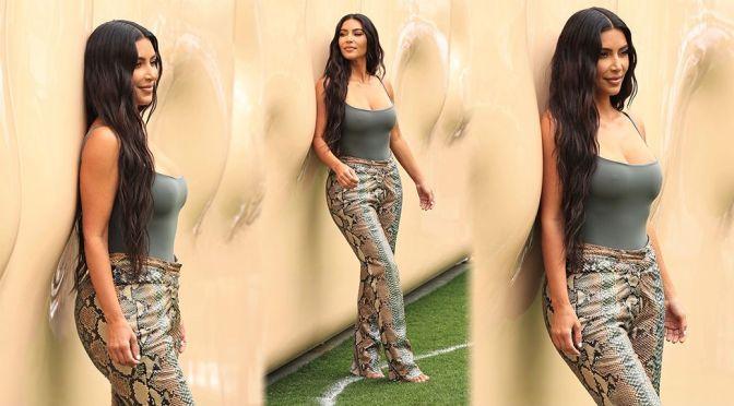 Kim Kardashian – Gorgeous Big Braless Boobs at SKIMS Pop Up Shop in Los Angeles