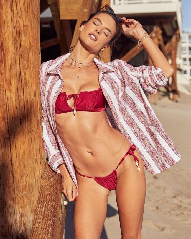 Alessandra Ambrosio Sexy In Red Bikini