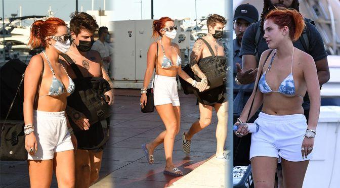 Bella Thorne – Big Boobs in Bikini Top Out in Miami