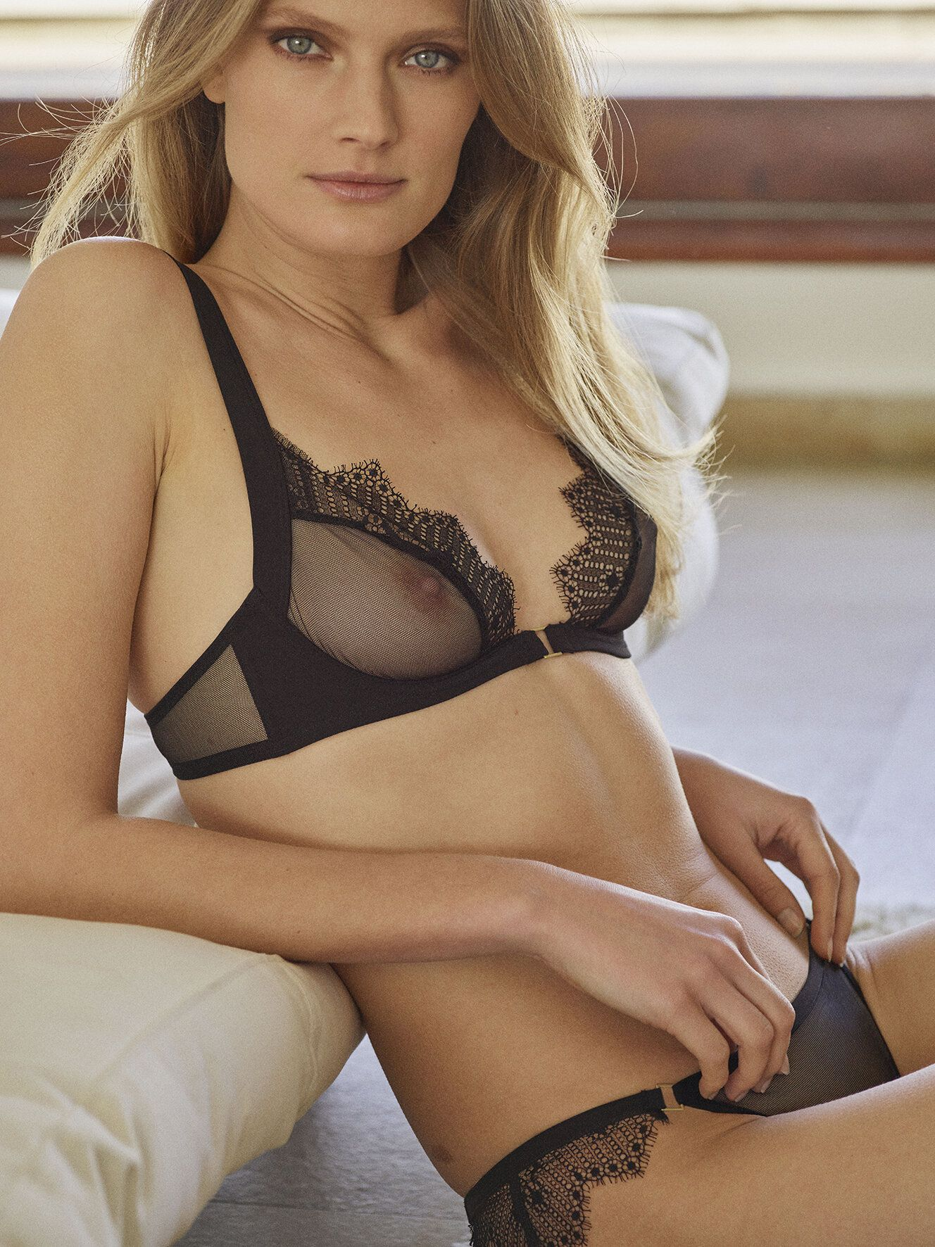 Constance Jablonski Sheer Bra
