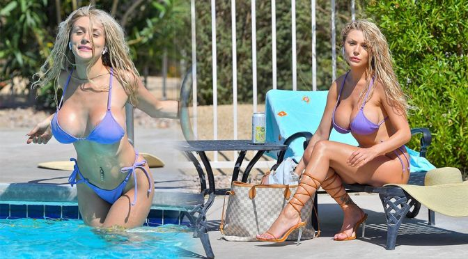 Courtney Stodden – Fantastic Big Tits in a Small Bikini at a Pool in Palm Springs