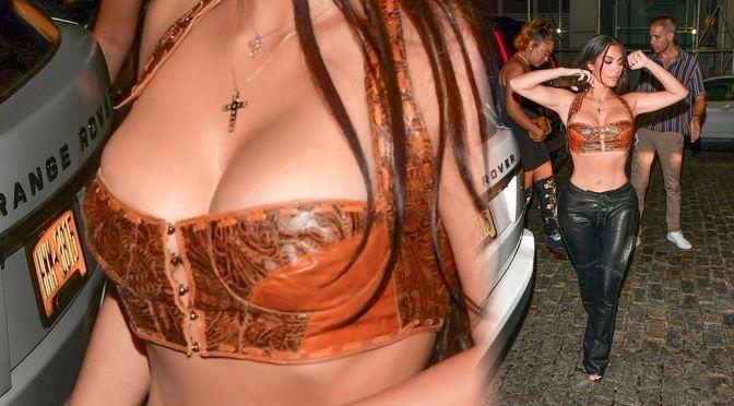 Kim Kardashian – Beautiful Big Boobs in Sexy Top Out in New York