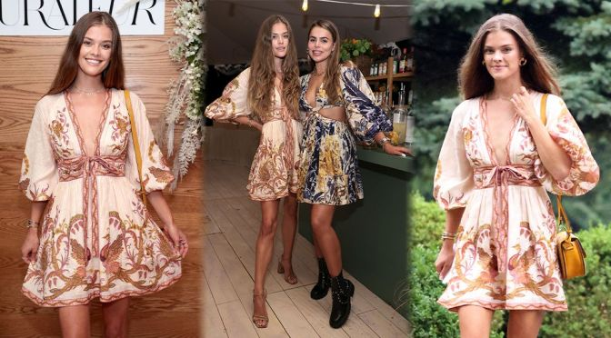 Nina Agdal – Sexy in Beautiful Dress at the Curateur Launch Event in The Hamptons