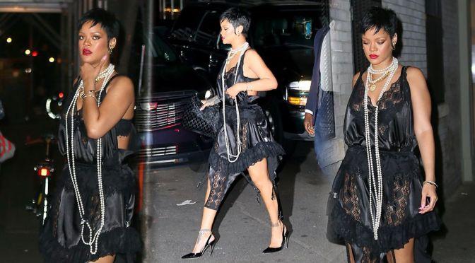 Rihanna – Sexy Black Dress at Carbone restaurant in New York