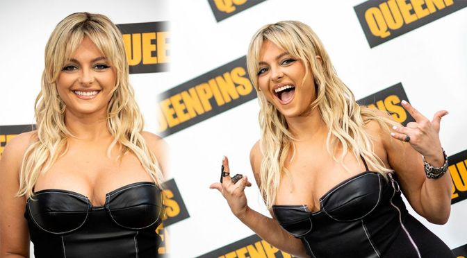 """Bebe Rexha – Sexy Cleavage in BLack Dress at """"Queenpins"""" Photocall in Los Angeles"""