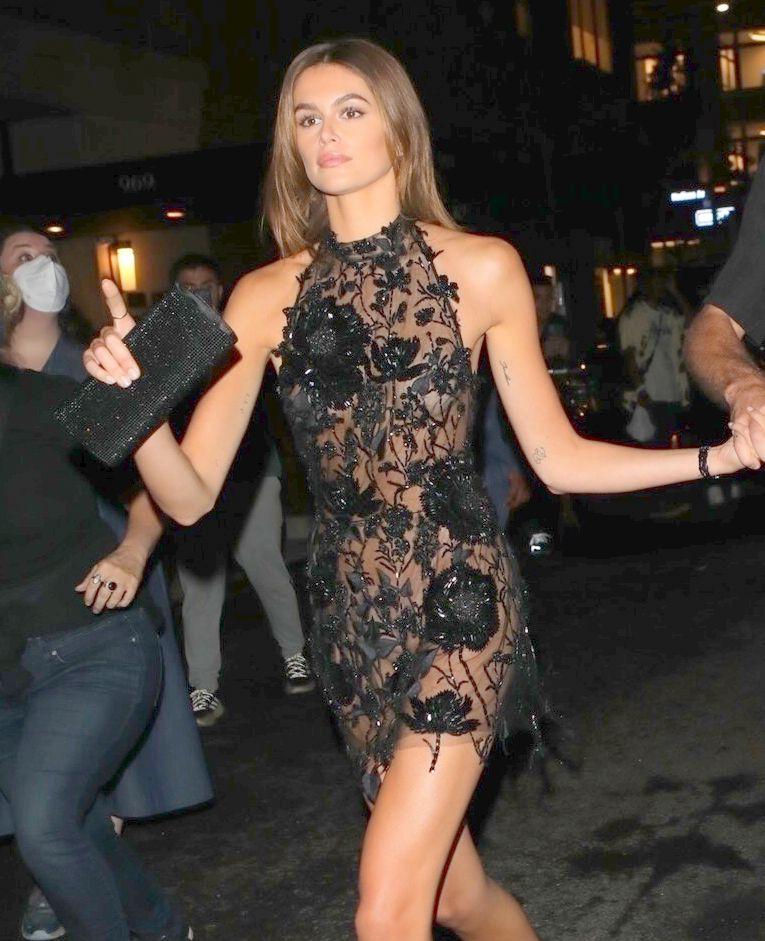 Kaia Gerber Sexy Sheer Dress