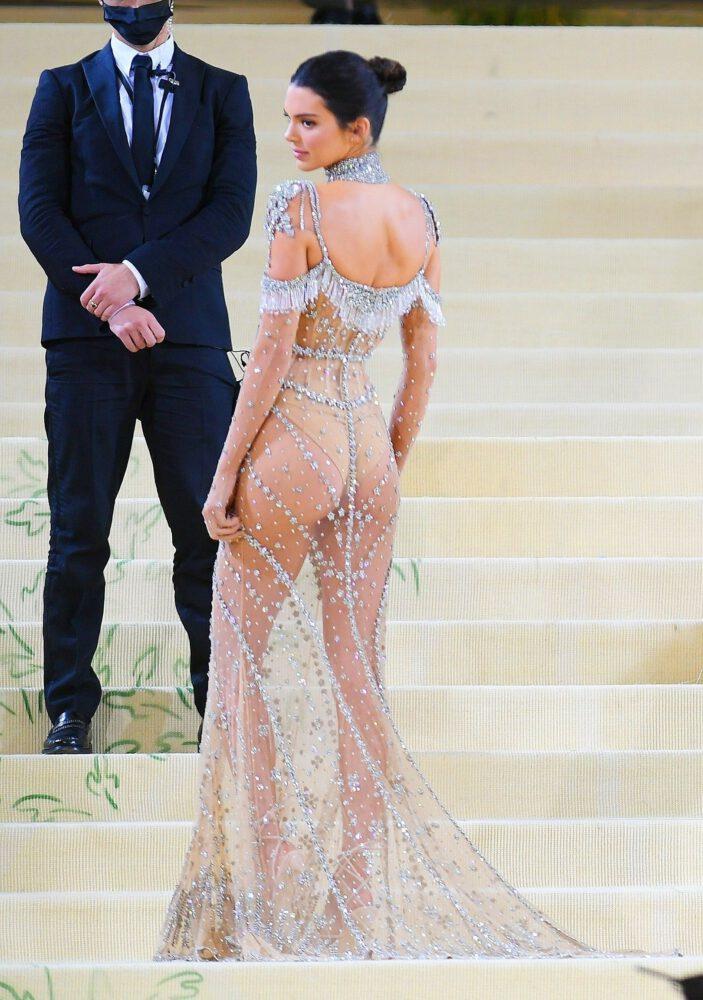 Kednall Jenner Ass In See Through Dress