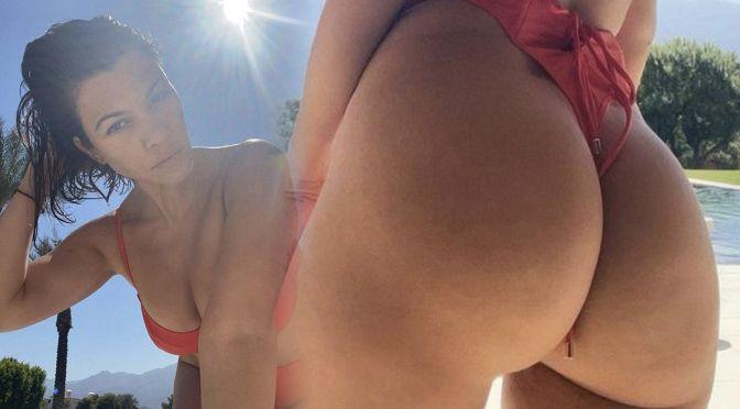 Kourtney Kardashian – Gorgeous Big Ass in a Thong Swimsuit