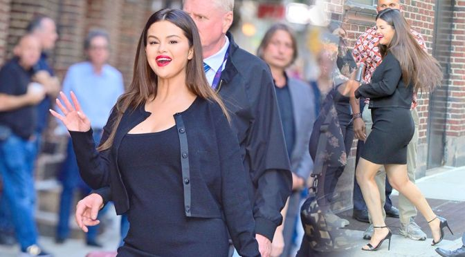 """Selena Gomez – Gorgeous Boobs and Legs on """"The Late Show with Stephen Colbert"""" in New York"""