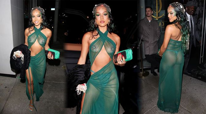 Karrueche Tran – Braless Boobs & Tiny Thong in See-Through Dress Out in Los Angeles