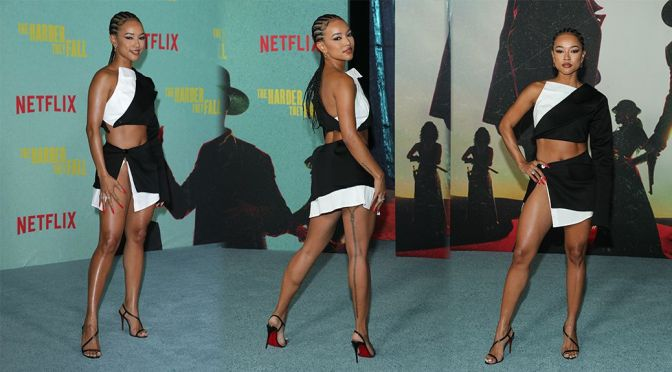 """Karrueche Tran – Fantastic Legs & Upskirt in a Sexy Mini Skirt at """"The Harder They Fall"""" Premiere in Los Angeles"""