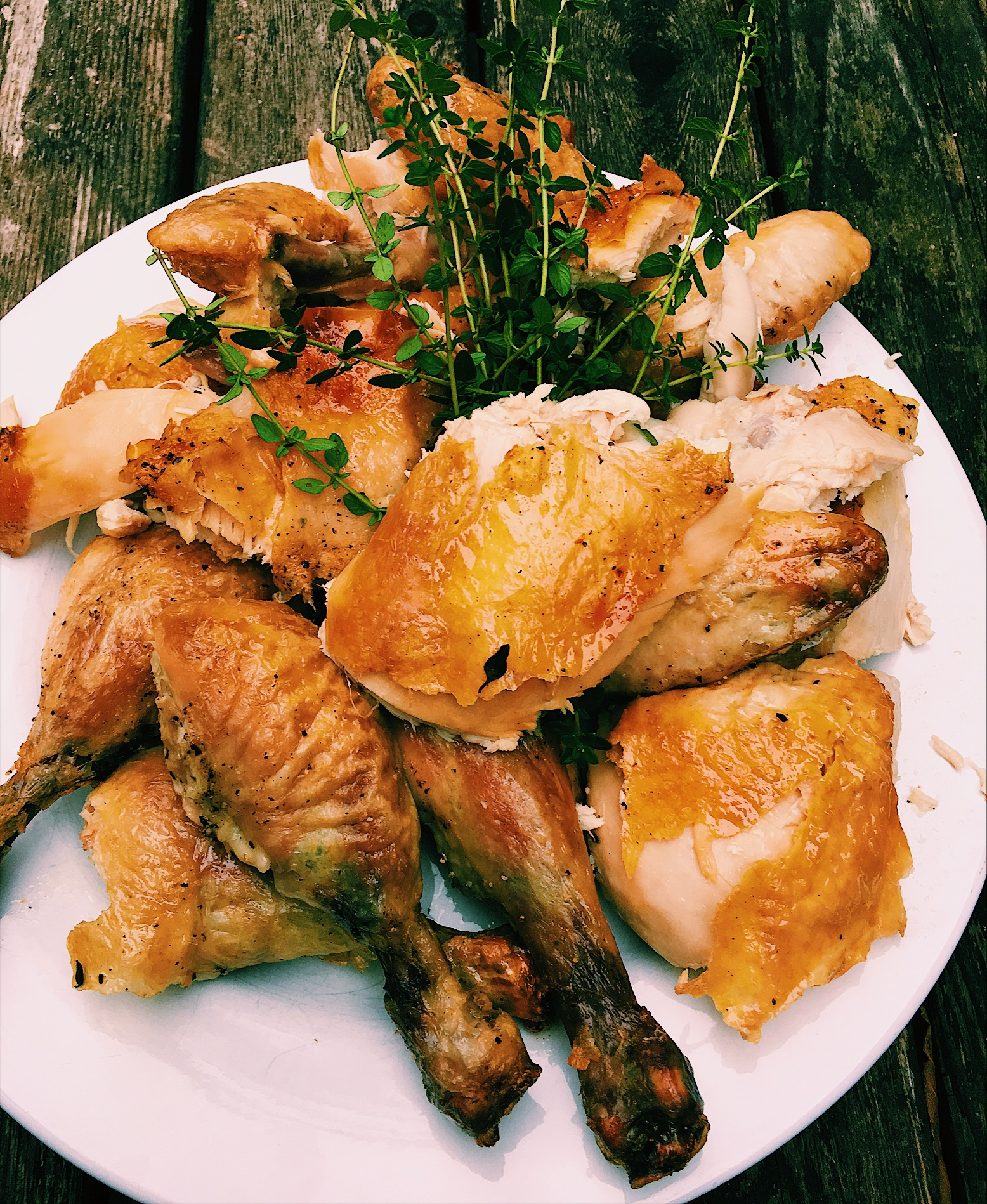 Perfectly Roasted Whole Chickens with Lemon and Thyme