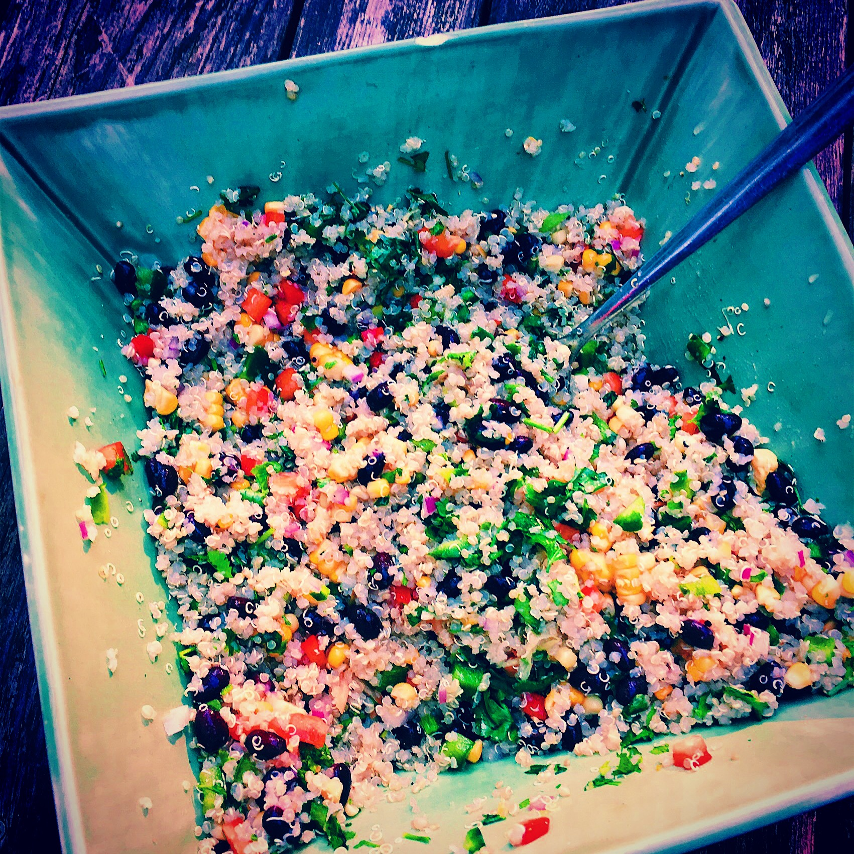 Quinoa Salad with Black Beans, Fresh Corn and Peppers