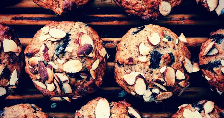 Banana-Blueberry, Oatmeal Muffins with Toasted Almond Topping