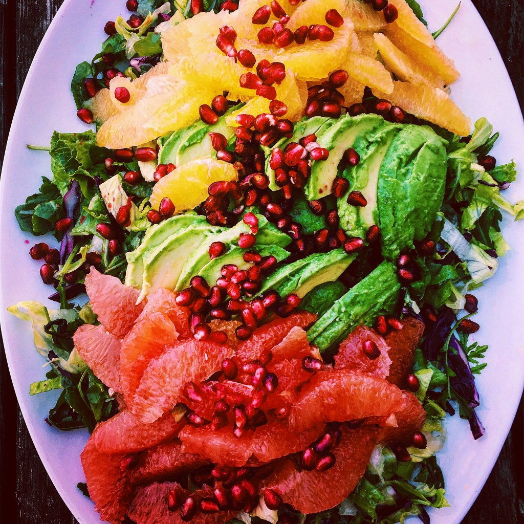 Mixed Citrus Salad with Avocado, Pomegranate and Spicy, Roasted Chickpeas