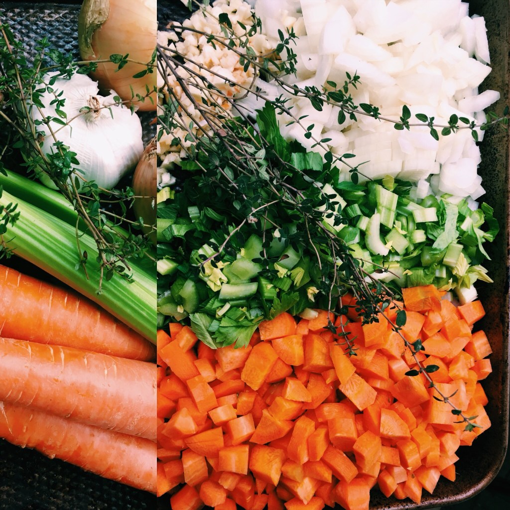While the rice is cooking, prep your veggies for the saute pan..