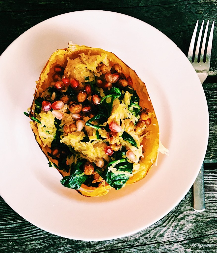 Spaghetti Squash Bowl with Spinach, Pomegranite and Spicy Roasted Chickpeas