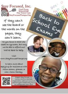 August is Vision and Learning Month, to apply for assistance with vision exams, glasses or vision therapy.