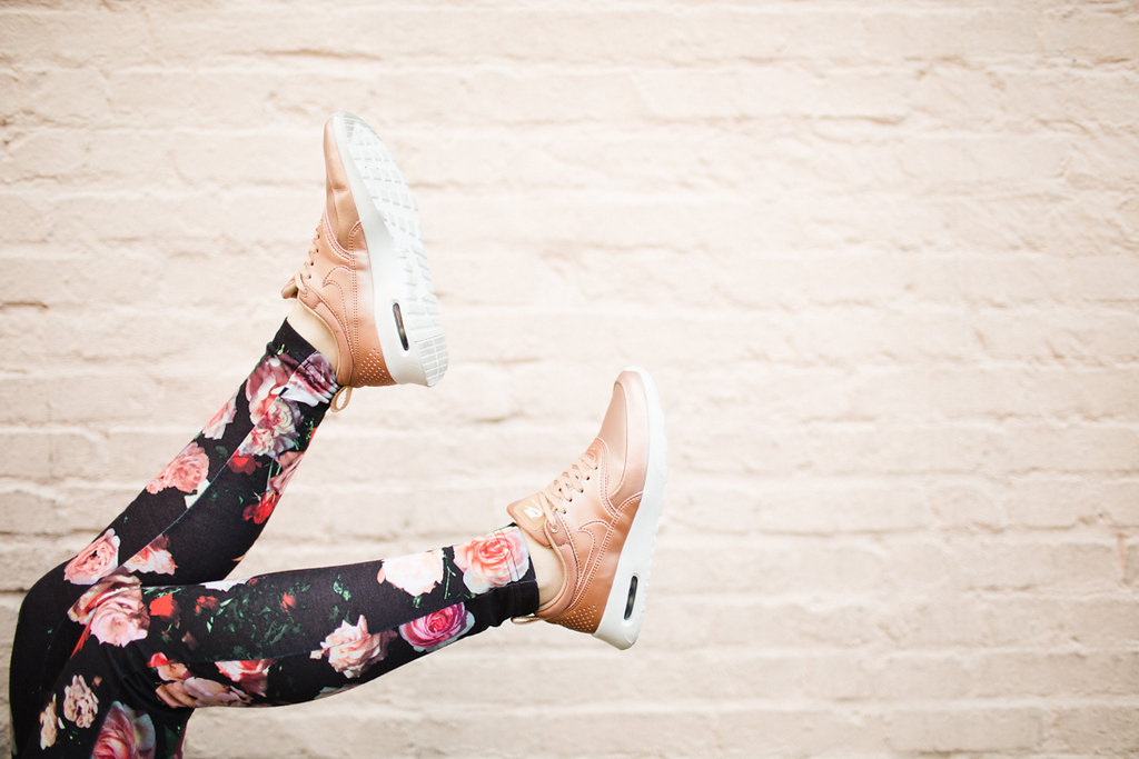 nike air max thea rose gold is why you need metallic sneakers. Black Bedroom Furniture Sets. Home Design Ideas