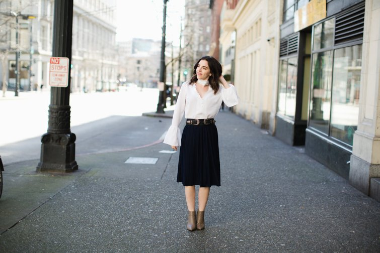 Navy Pleated Skirt White Choker Bell Sleeve Blouse Seattle Fashion Blogger