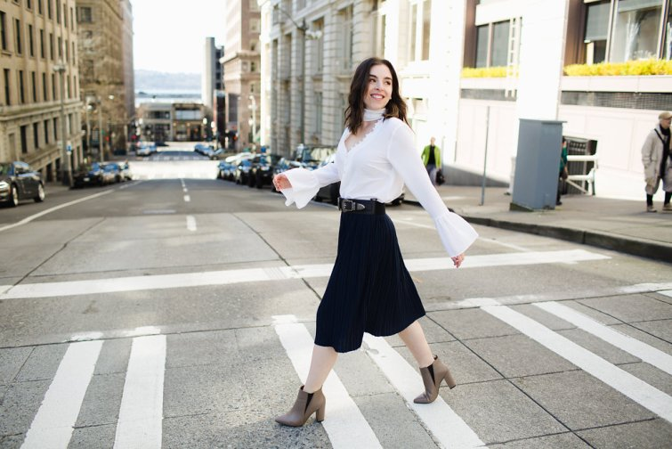 Navy Pleated Skirt White Choker Bell Sleeve Blouse Seattle Fashion Blogger7