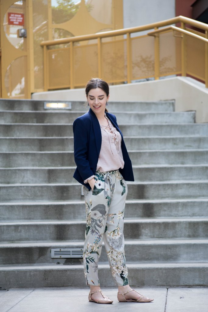 Cute work outfit with floral pants