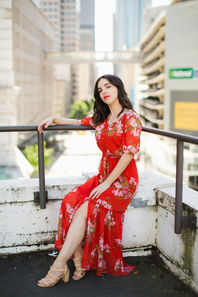 Who What Wear Tiered red maxi floral print dress