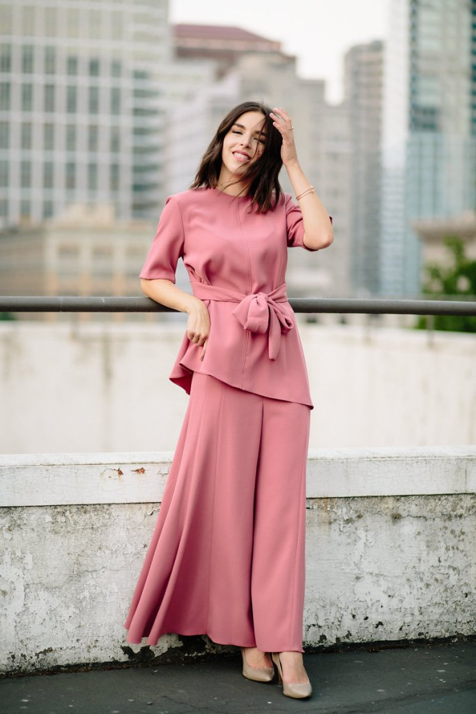 Wide leg trousers and blouse coordinates