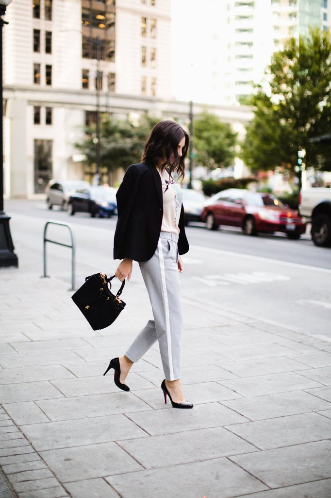 Gray trousers with track pant stripe, street style work outfit