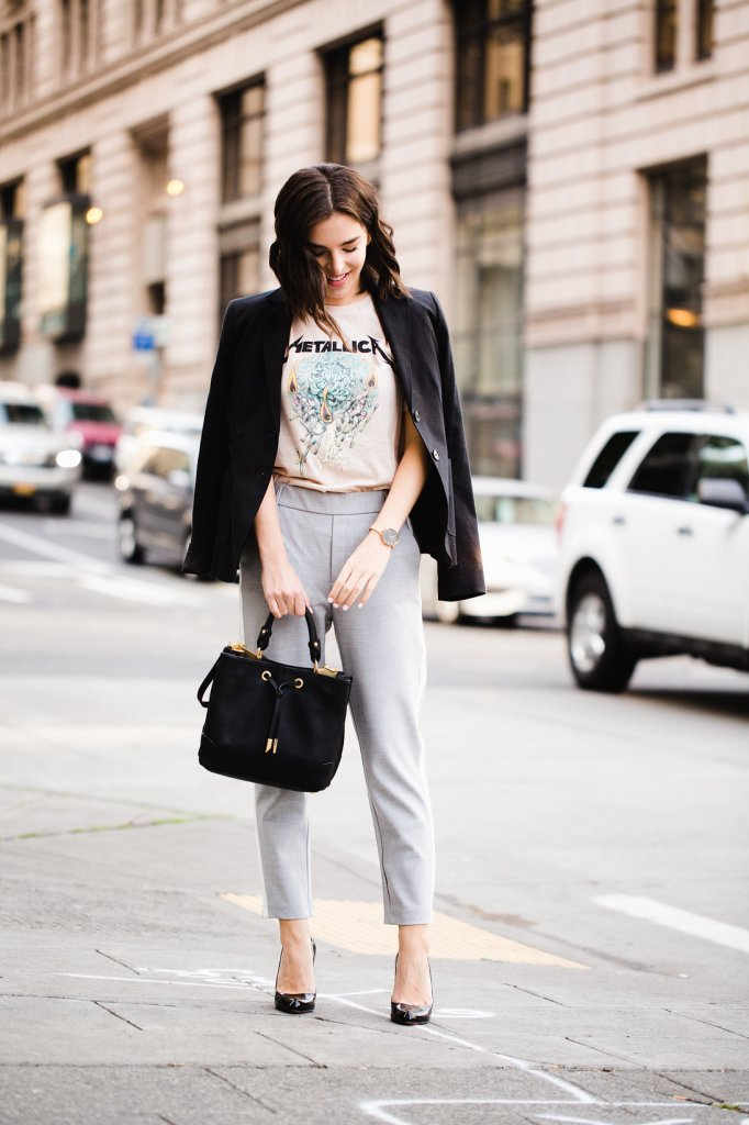 How to wear street style trends at work, rock band tee