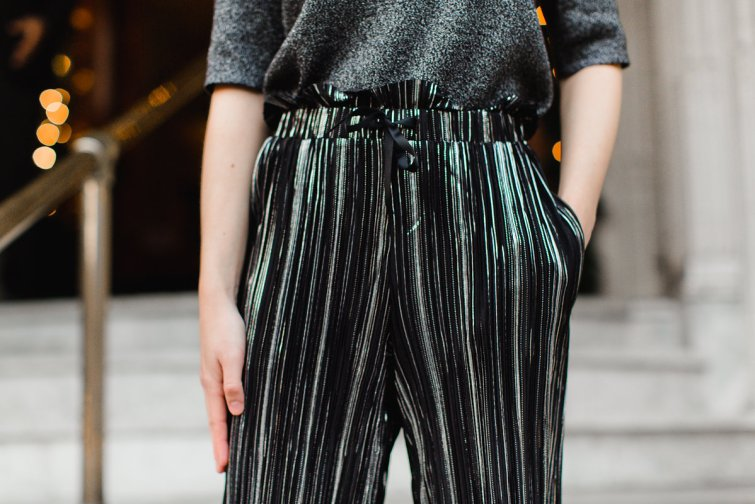 Metallic pleated culotte pants New Year's Eve